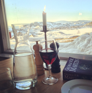 The scenery and book may have influenced my opinion on how good dinner was.